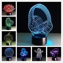 Luminarias Night Light 3D Lamp Earphone Basketball 3D Lights nightlight USB Led Night Lights Robot 3D Led Lamp kids gift