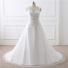 Buy Plus Size Wedding Dresses A-line V-neck Cap Sleeves Tulle Lace Beaded Boho Wedding Gown Bridal Dresses 2018 Vestido De Noiva for $89.13 in AliExpress store