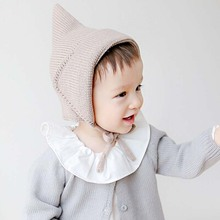 baby hats for boys girls infants accessories kids caps winter Steeple Witches Knitted Hat Lace-Up Solid toddler Bonnet Newborn(China)