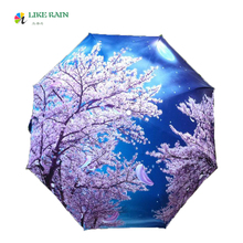 LIKE RAIN 2017 Creative Oil Painting Arts Umbrella Flowers And Full Moon Beach Umbrella Rain Women Decorative Umbrella YHS03