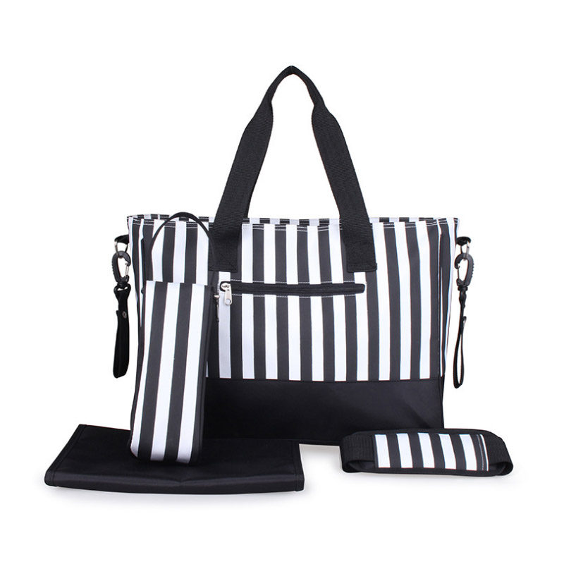 Diaper Bag Mummy Backpack Nappy Bag Large Capacity Stroller Bags Black And White Stripes Nursing Bag For Baby Care (2)