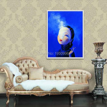 High Skills Artist 100%Hand-painted Abstract China Woman Smoking Sexy Picture Oil Painting On Canvas For Office Decoration(China)
