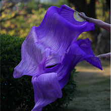 New-dyed 100% Silk Belly Dance Fans Purple/light-Purple 2pcs/pair Left+Right  Hot-Sale 180*90 cm Fast delivery
