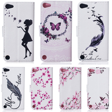 Luxury PU Leather Printed Wallet Case Cover For Apple iPod Touch 5 5th 5G touch5 iPod Touch 6 6th touch6 4.0 inch Cover Holster