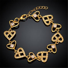 Fashion Gold-color Europe and the United States Eco Heart-shaped Ornaments Bracelett(China)