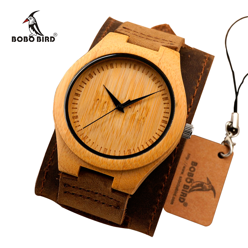 BOBO BIRD Men Watch Natural Bamboo Japanese Quartz Wooden Dial Wide Genuine Leather Band Wrist Watch Brown With Gift Box<br><br>Aliexpress