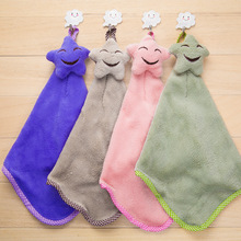 Cute Smiling face star Hanging hook Microfiber Kids Children Cartoon Absorbent Hand Dry Towel Lovely Towel For Kitchen Bathroom