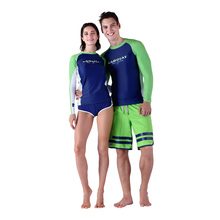 SABOLAY Women men Lovers Rash Guards Water Sports UV Protection Two Piece Surfing Lycra Elastic large size Shirts With Shorts(China)