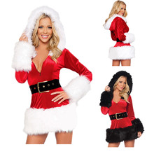 2015 New Ladies Sexy Santa Claus Costumes Adult Women Costume Party Velvet Dress Ladies Velvet Dress santa Xmas Costumes Outfit