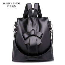Cute Bowknot Bagpack Female 2018 PU Leather School Bag Korean Small  Backpacks Adolescent Girls Lovely Christmas 86d56d79f6