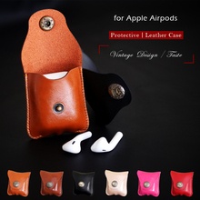 For Apple Airpods Air Pods Leather Case Protective Cover Pouch Anti Lost Protector Elegant Sleeve Strap Fundas Accessories