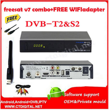 Freesat V7 Combo dvb-t2 dvb-s2 Satellite Receiver with PowerVu Biss Key Cccam Newcam Youtube USB Wifi freesat v7 combo wifi(China)