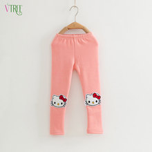 V-TREE Winter girls leggings hello kitty pants for girls velvet thicken girls warm leggings kids trousers baby clothing