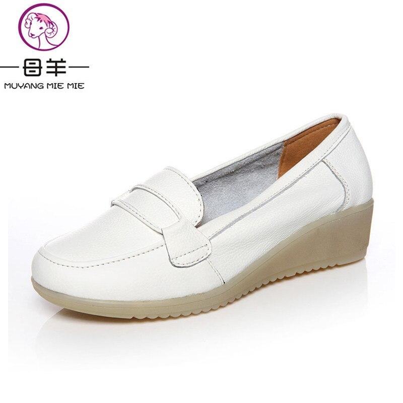 MUYANG MIE MIE Women shoes Woman white single shoes female nurse shoes woman genuine leather wedges shoes women pumps<br>