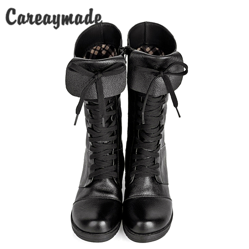 Careaymade-New British style Head layer cowhide lady shoes autumn winter women boots fashion high boots warm shoes woman boots<br>
