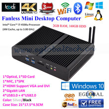 Free Shipping Fanless Mini Nettop PC Core i7  Windows 10 2GB RAM 160GB HDD Video Player 4K HTPC Optical Fiber TV BOX Computer