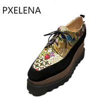 PXELENA Gorgeous Embroider Silk Punk Rock Gothic Creepers Women Kid Suede Square Toe Flat Platform Shoes 2018 New Spring Design(China)