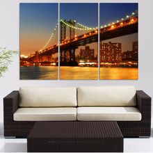 Canvas Modular Pictures Frame Wall Art 3 Panel Manhattan Bridge City Night View HD Print Painting Fashion For Living Room Decor(China)
