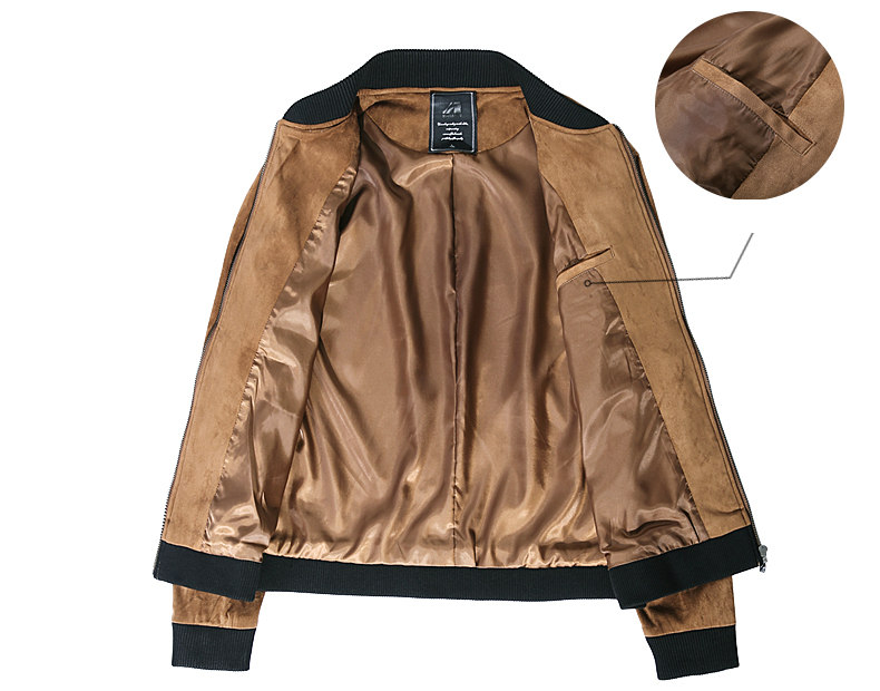 Jacket Men High Quality Autumn Baseball Collar Suede Spring Mens Jacket Coat Male Winter Warm Camel Size M L XL XXL 3XL 2018 New-06