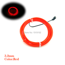 20Meters 3.2mm 10 color Powerd by 8-AA Batteries EL Wire Flexible Party Wedding Home Decora Neon LED glowing Light Tube Rope