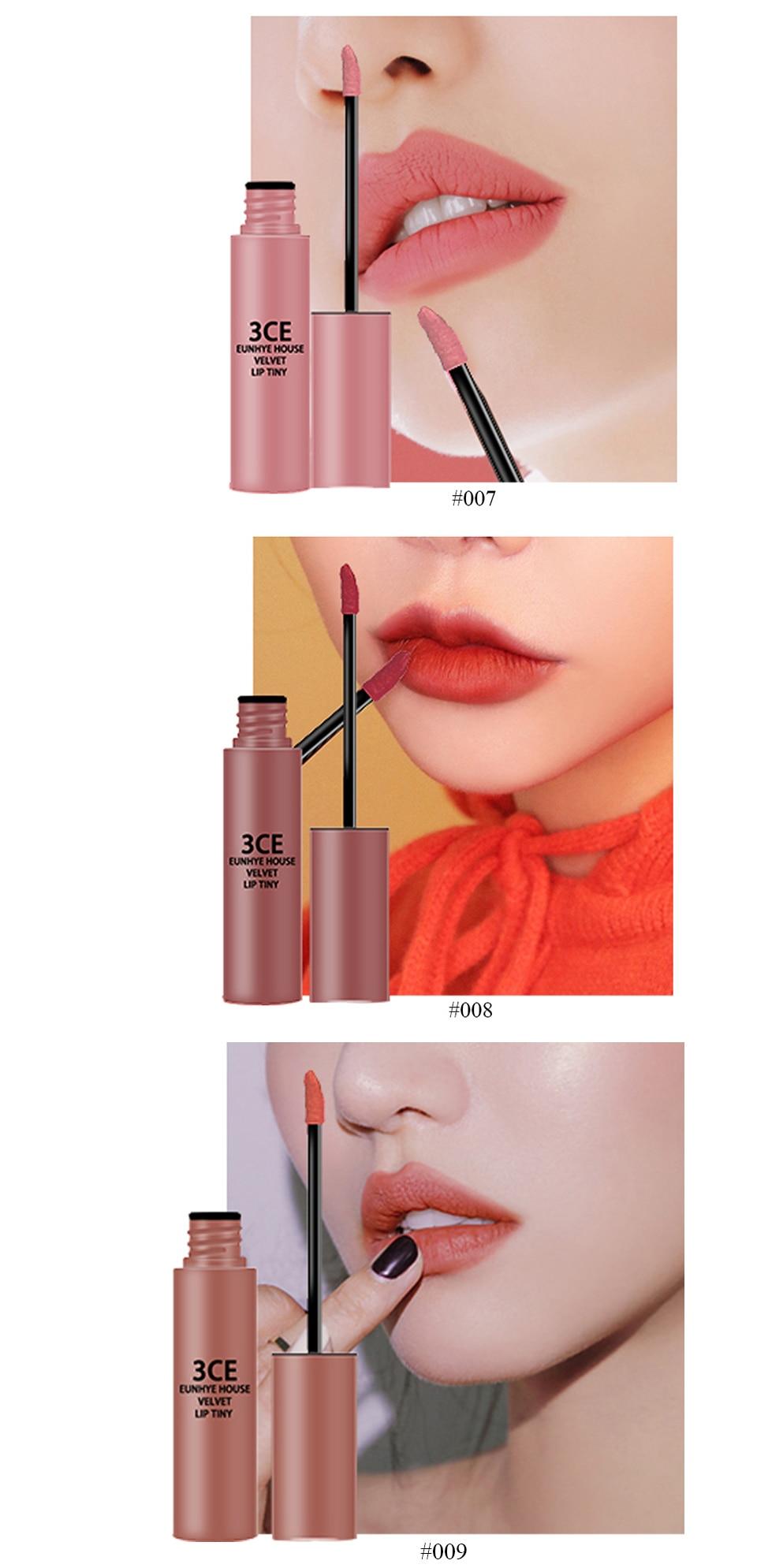 3CE Eunhye House Brand New Lip Cosmetics 3 colors Lip glaze Moisturizer Long-lasting Lip Makeup for common 15
