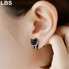 Hot! 1pc 2015 Fashion Cute Woman Lady Girl Black Cat Pearl Stud Earring Puncture Ear Jewelry
