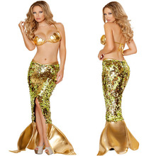 Sexy Mermaid Costumes Halterneck Backless Sequins Bra Exotic Women Bodycon Package Hip Sequined Mermaid Lingerie lengeries(China)