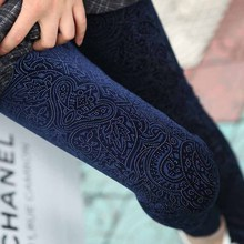 lady simple elegant designer pant women black navy blue luxury leggings vintage floral pencil pants spring autumn long trousers(China)