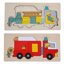 Wooden Toys Multilayer Jigsaw Puzzle Toy Early Education Toys For Children 3D Puzzle Story Fire Fighting Truck Wood Toy(China)