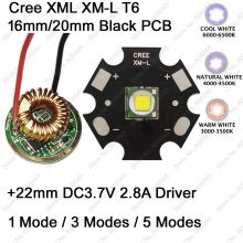 Cree XM-L T6 10W LED Emitter Cool White Neutral White Warm White 16mm / 20mm PCB+ 22mm DC3.7V 2.8A 1 Mode /3 Mode /5 Mode Driver