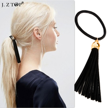 Fashion Black Velvet Tassel Hair Rope Headbands Simple Elastic Hair Bands For women Girl Hair Accessories Sair bijoux de tete