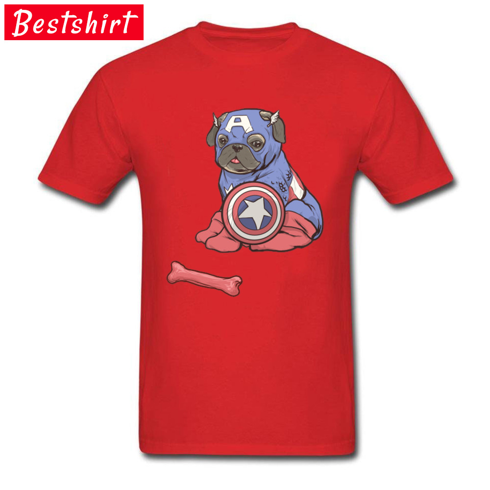 Custom Captain AmeriPUG T-shirts Funny Labor Day Short Sleeve Crew Neck T Shirt 100% Cotton Men Personalized Tees Captain AmeriPUG red