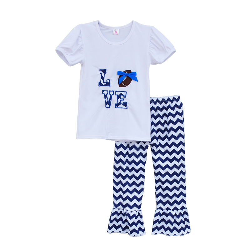 Cheerleader Design Girls Boutique Clothing Set LOVE Embroidered Football Deco White Blue Chevron Ruflle Pants Outfits G002<br>