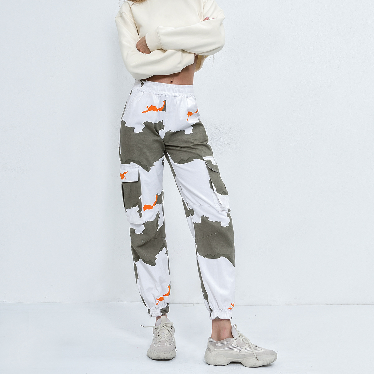 Liva Girl Women High Waist Camouflage Pants Fashion Pantalon Femme Trouser Long Sweatpants Streetwear Pockets Camo Pants Jogger