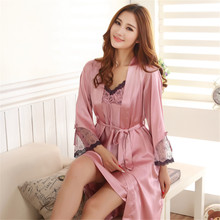 Womens Sleepwear Silk Pajamas Satin Pajamas Silk Sling Nightdress Nightgown Two-piece Pajamas Sexy Lace Tracksuit M-2XL 5 Colors(China)