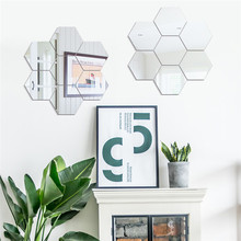 Three-dimensional hexagonal 7 Piece Wall Decoration Acrylic Mirrored Decorative Sticker Room Decoration DIY Wall Art Home Decor(China)