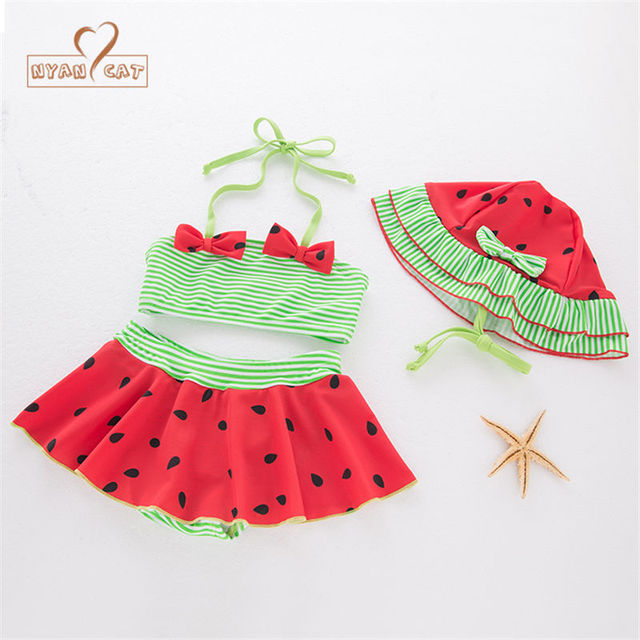 f0c530f88c24 Nyan Cat Baby girls summer swimsuit bikinis red belt tops+skirt +hat 3pcs  set