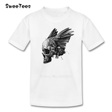 Dark Skull Children T Shirt Pure Cotton Short Sleeve O Neck Tshirt Tee Shirt Boys Girls 2017 Custom Made T-shirt For Kids