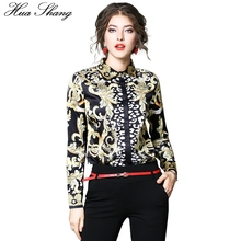 Buy Fashion Luxury Golden Floral Print Retro Vintage Blouse Women Spring Autumn Long Sleeve Chiffon Blouse OL Lady Office Shirt Tops for $14.82 in AliExpress store