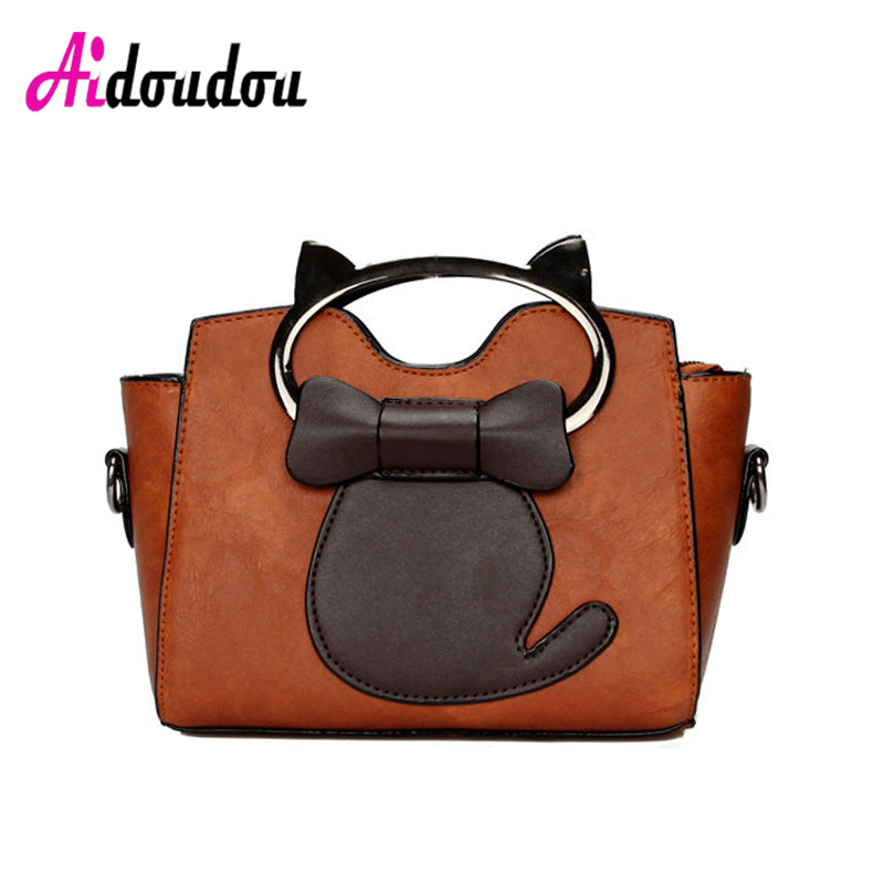 Fashion Cute Cat Tote Bag Small Bags For Women 2018 Brown Pink Women Messenger Bags Cats Pu Leather Luxury Brand Totes Handbags<br>