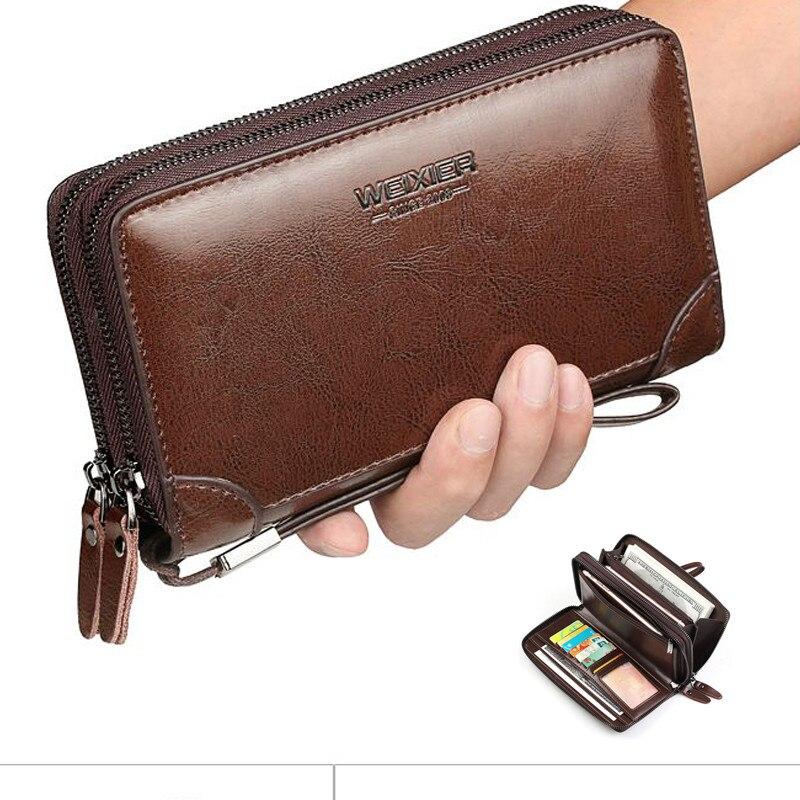 Men/'s Genuine Leather Wallet Long Zipper Biker Credit Card Holder Purse Hand New