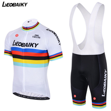 LEOBAIKY Team Sky New Pro Team Cycling Jersey Sets Short Sleeve Gel Breathable Pad Bib Shorts Bike Clothing MTB Ropa Ciclismo(China)