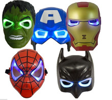 1pcs LED Glowing superhero mask Avengers Marvel Captain America Spiderman Hulk Iron man Batman party mask kid & adult