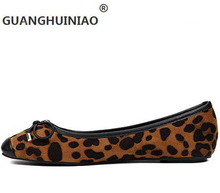 Round head of new fund of 2016 autumn light mouth bow leopard single low shoes and leisure shoes with flat sole