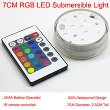luzes de natal!12 pcs /lot 3AAA Battery Operated 2.8inch  Submersible Multicolors RGB LED Under Vase Light Base W/Remote