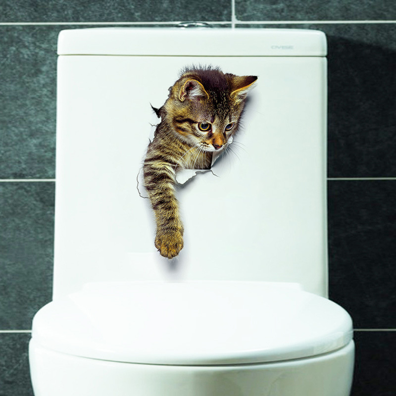 Cartoon animal 3d toilet stickers on the toilet seat cute cats PVC wall sticker bathroom refrigerator door decor stickers decals (18)