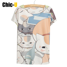 women t shirt cotton harajuku tumblr summer cartoon cats zoo cute tee shirt femme tops short sleeve poleras de mujer big size(China)