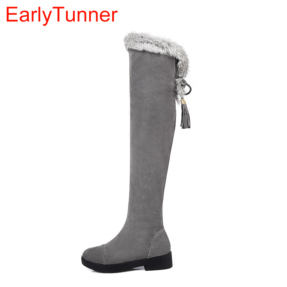 Brand New Winter Sexy Women Thigh High Fur Boots Black Gray Lady Over the Knee Shoes Chunky Heel ETC02 Plus Big size 10 43<br>