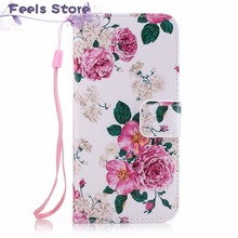 For Coque Apple iPhone 6 6S 6 S case Pink Plum PU Leather mobile phone Silicone cover case sFor flip Apple iPhone 6 Plus 6S plus(China)