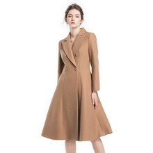 [OL] Limited 2017 Autumn Winter New Woolen Long Dress Suits Double-sided Cashmere Fashion Women's Coat Blazers Tops A220(China)